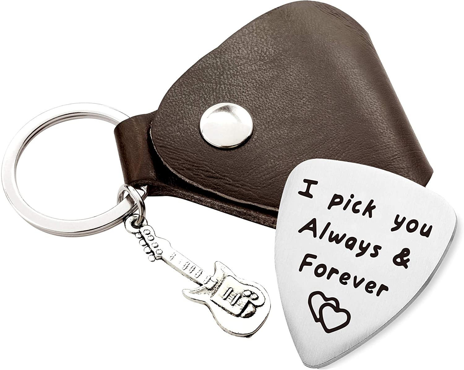 Warehouse No.9 I Pick You Always and Forever Stainless Steel Guitar Picks Jewelry Gift for Men Boyfriend Husband Musician Guitar Player Birthday Christmas Valentine's Day Anniversary Gifts