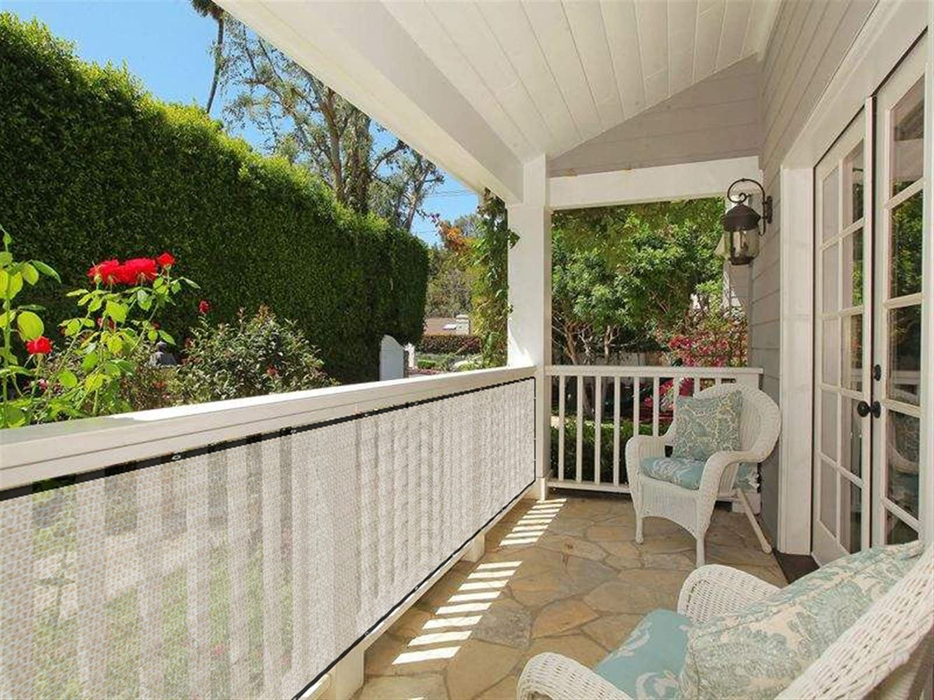 Liveinu Privacy Fence Screen Windscreen for Balcony Porch Verandah Deck Terrace Patio Backyard Railing Balcony Privacy Screen Cover for UV Protection 2.6'x13' ft Yellow