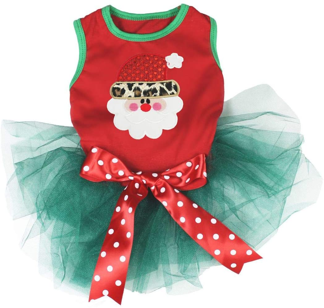 Petitebella Leopard Santa Claus Face Puppy Dog Dress