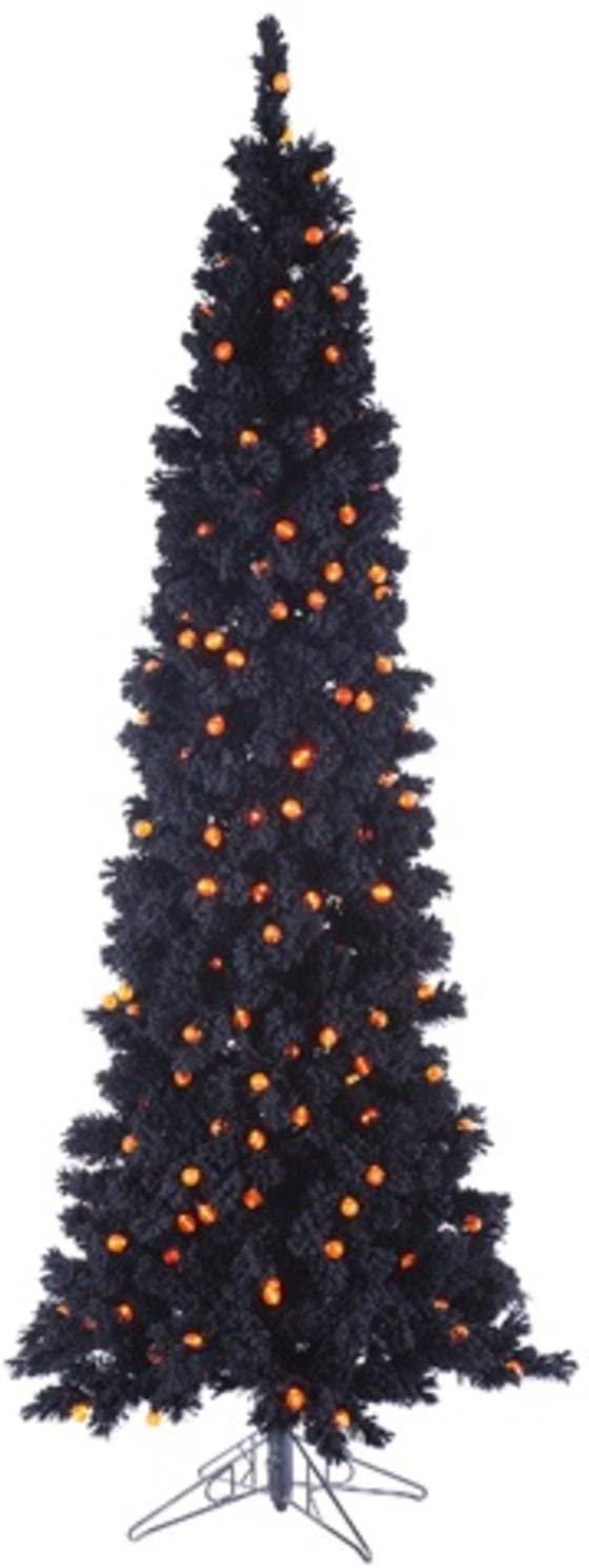 Allstate YTF146-BK 6.5 Pre-Lit Black Flocked Artificial Halloween Tree - Orange G25 LED Lights