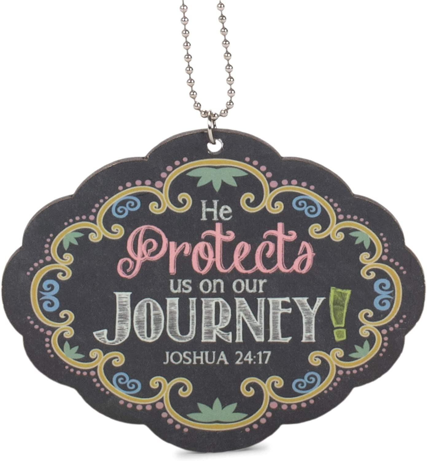 P. Graham Dunn He Protects Us On Our Journey Multicolor Chalkboard Look Wood Car Charm