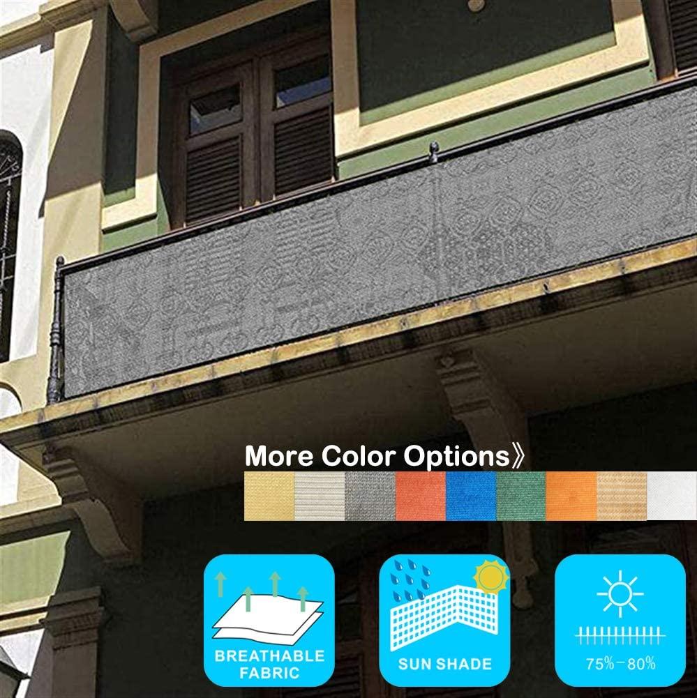 Liveinu Privacy Fence Screen Windscreen for Balcony Porch Verandah Deck Terrace Patio Backyard Railing Balcony Privacy Screen Cover for UV Protection 2.8'x19.6' ft Grey