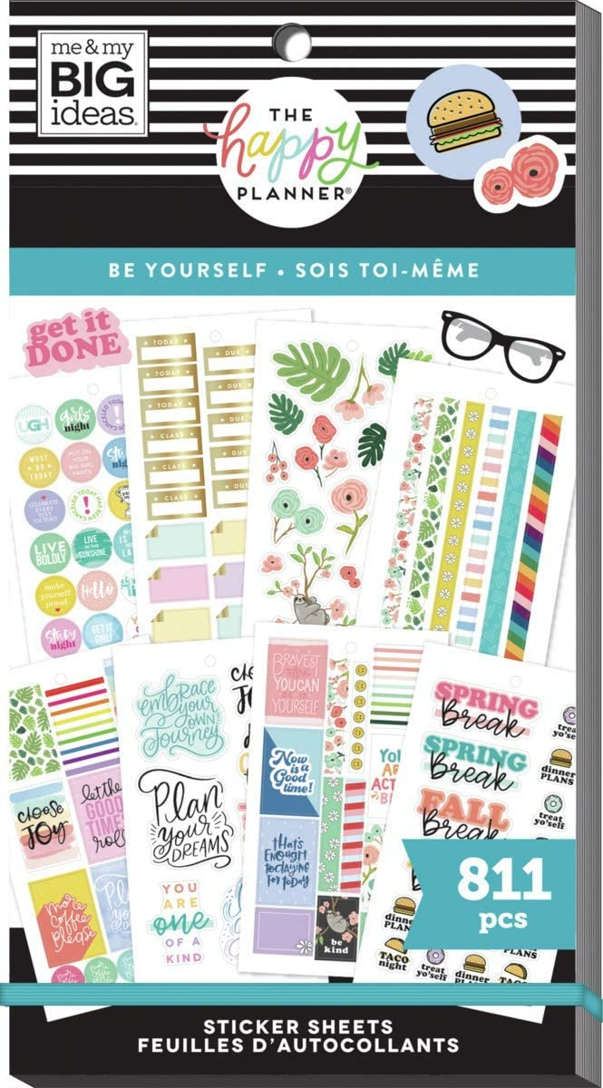 The Happy Planner Sticker Value Pack - The Happy Planner Scrapbooking Supplies - Be Yourself Theme - Multi-Color - Great for Projects, Scrapbooks & Albums - 30 Sheets, 811 Stickers Total