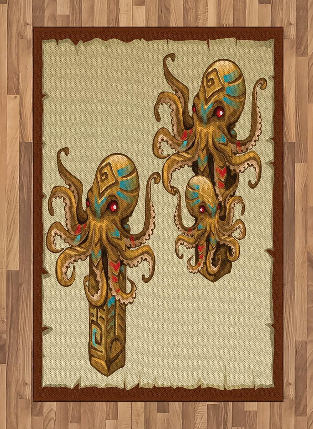 Ambesonne Octopus Area Rug, Cartoon Art Tribal Monster Kraken Sculpture Ornament Illustrations Sea Creature Print, Flat Woven Accent Rug for Living Room Bedroom Dining Room, 4 X 5.7 FT, Brown