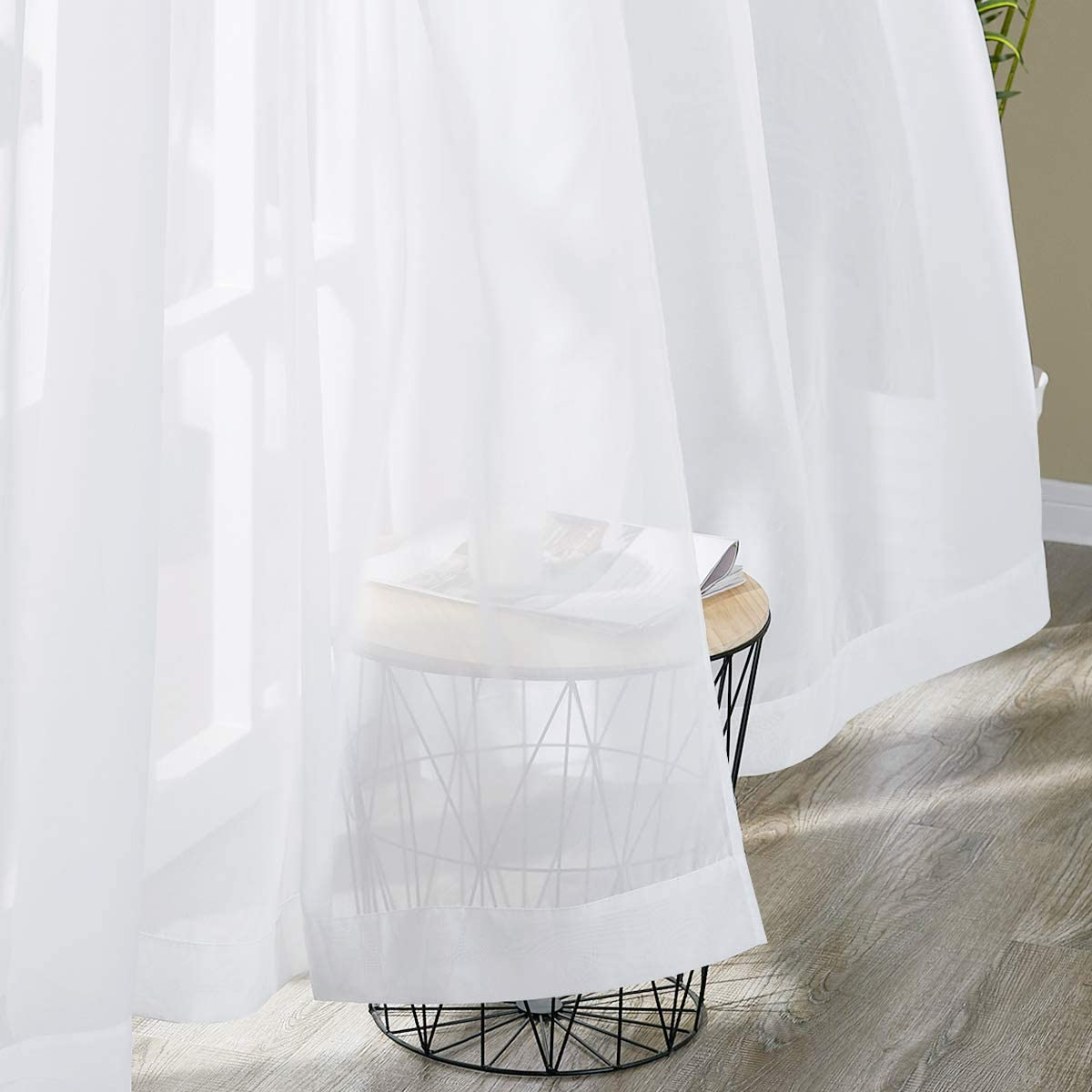 NICETOWN Chiffon Sheer Curtains Extra Length, Wide Solid Voile Window Panels for Patio / Sliding Door / Living Room (55 W x 108 L, White, 2 Pieces)