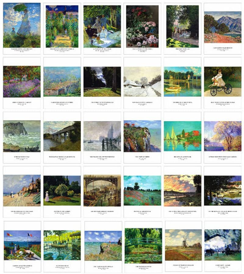 Artistic Beautiful 30 PCS 1 Set Vintage Retro Postcards, Monet