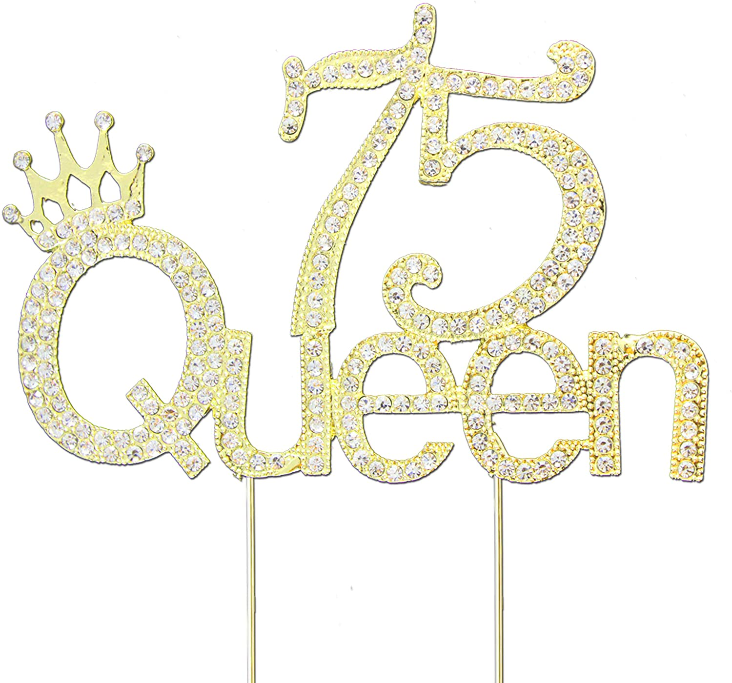 Glitter Crystal Gold Queen 75 Cake Topper | Happy 75th Birthday Rhinestone Diamond Bling Sparkle Gem Monogram Number Party Favor Decoration Idea Perfect Keepsake. (Queen 75 Gold)