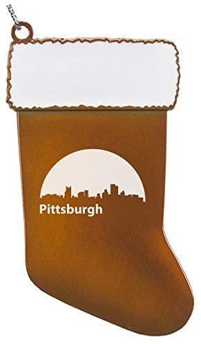 Pittsburgh, Pennsylvania-Christmas Holiday Stocking Ornament-Orange