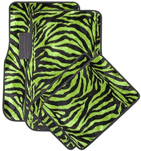 Motorup America Auto Floor Mats (Set of 4) - Green Zebra Animal Print Fits Select Vehicles Car Truck Van SUV