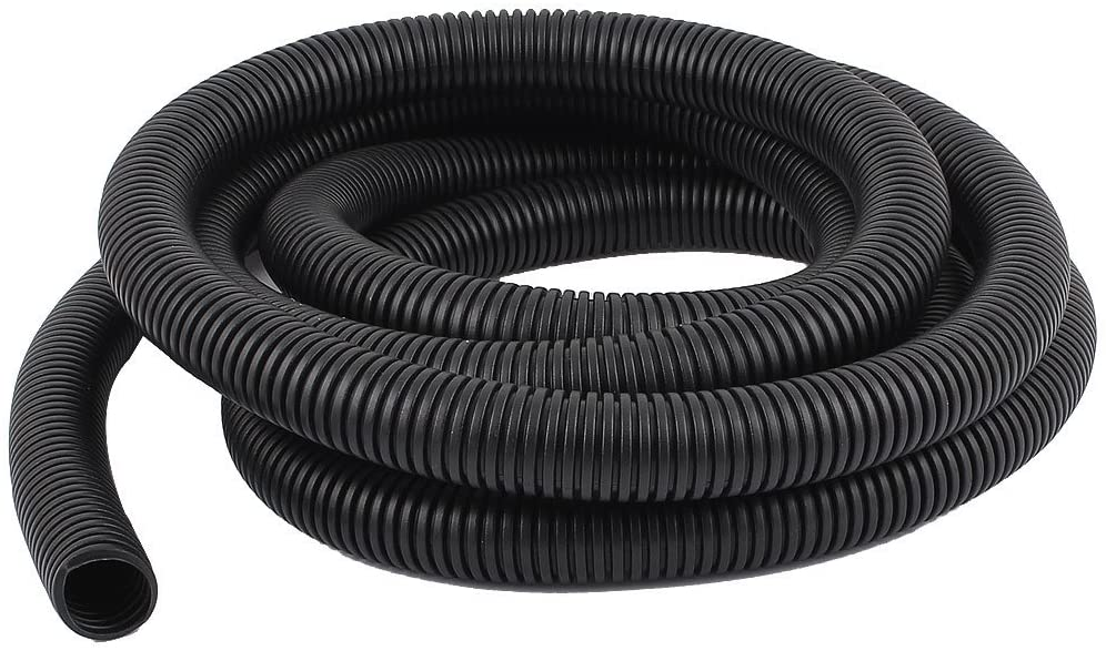 Othmro 8Meter Length 6.5mm Outside Dia Corrugated Bellow Conduit Tube for Electric Wiring Black 1pcs