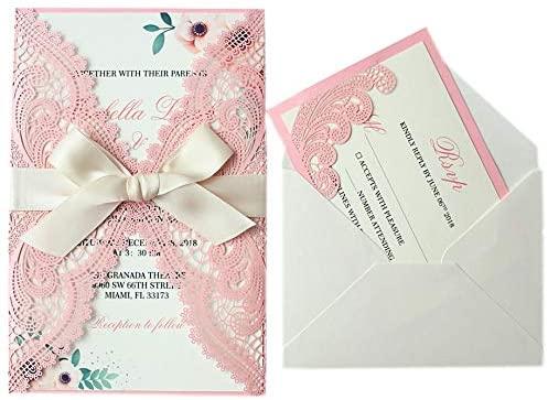 25-Set Blush Pink Wedding Invitations with RSVP Cards and Envelopes, Floral Design Invitation Card, Elegant Wedding Card with Ribbon 5 x 7.25