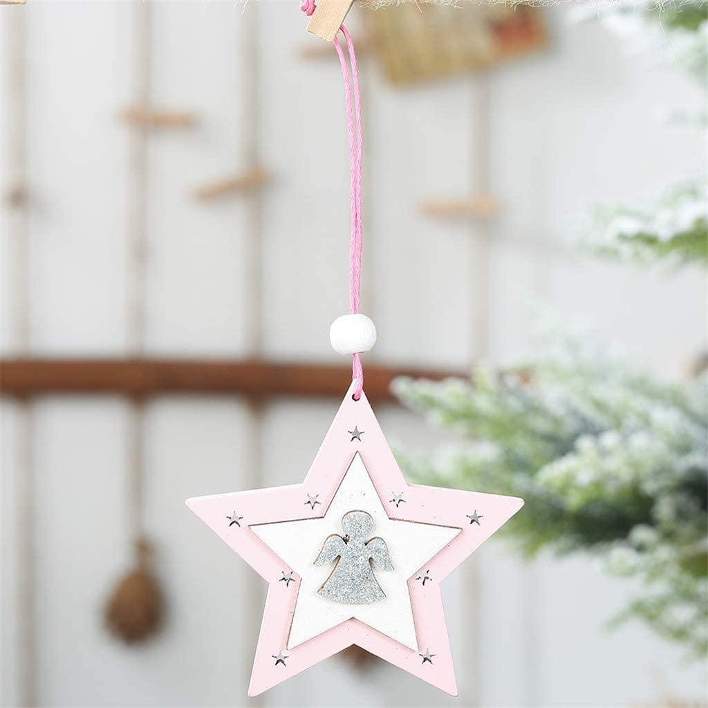 Christmas Ornaments, Pink Wooden Five-Pointed Star Pendants, Creative Christmas Tree Pendants, Elk Pendants