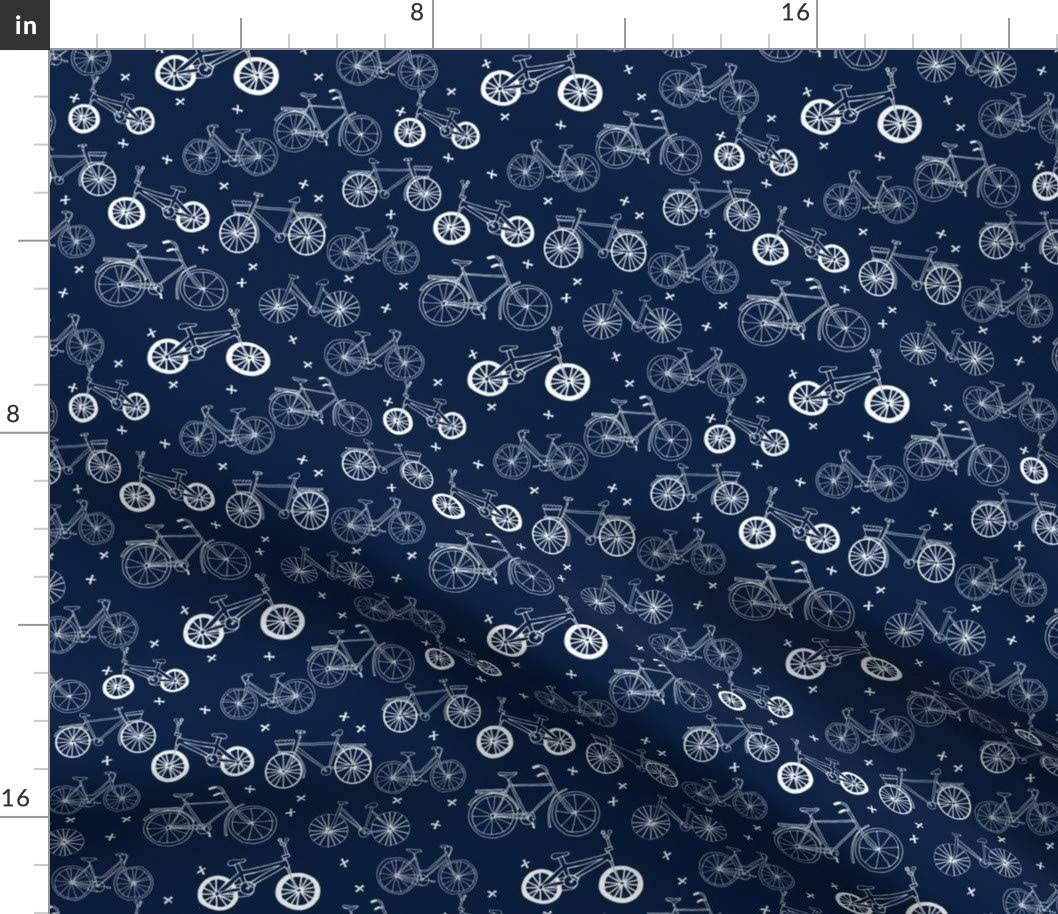 Spoonflower Fabric - Bicycles Navy Blue Kids Bikes Fun Bike Hand Drawn Illustration Bicycle Printed on Petal Signature Cotton Fabric by The Yard - Sewing Quilting Apparel Crafts Decor