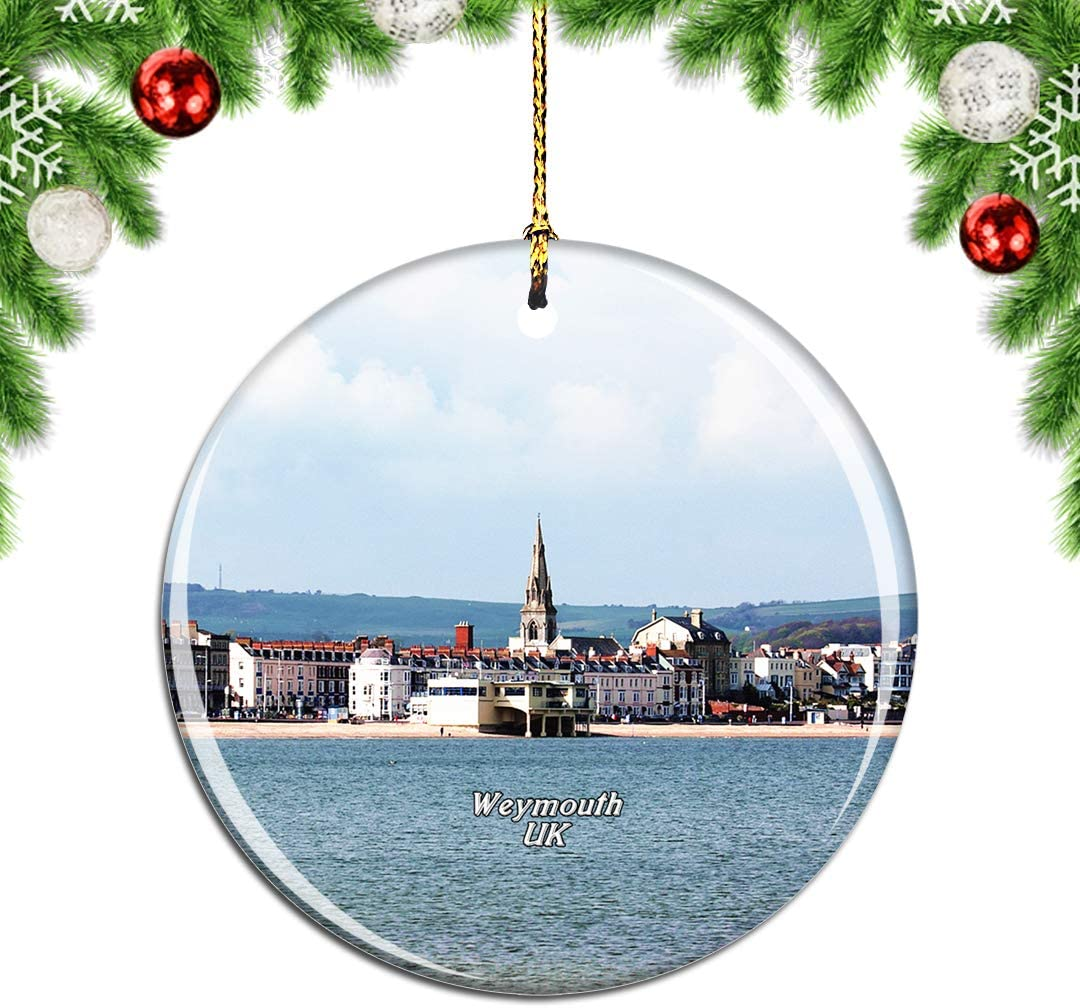 Weekino UK England Weymouth Beach Christmas Xmas Tree Ornament Decoration Hanging Pendant Decor City Travel Souvenir Collection Double Sided Porcelain 2.85 Inch