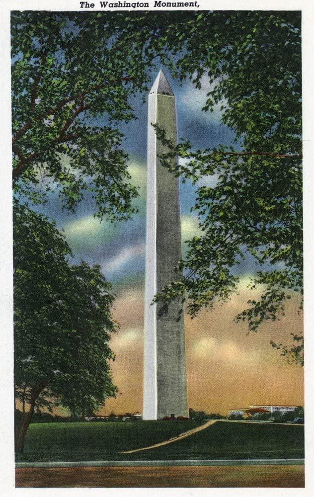 Washington DC - Exterior View of the Washington Monument (9x12 Art Print, Wall Decor Travel Poster)