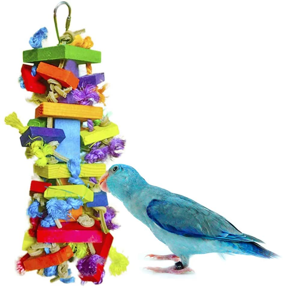 Meric Block Toy for Bird, 12-inches Tall 4-inches Wide, Nibbling Keeps Beaks Trimmed, Preening Keeps Feathers Groomed, Edible, Food-Grade Multicolored Wooden Blocks, 1-pc