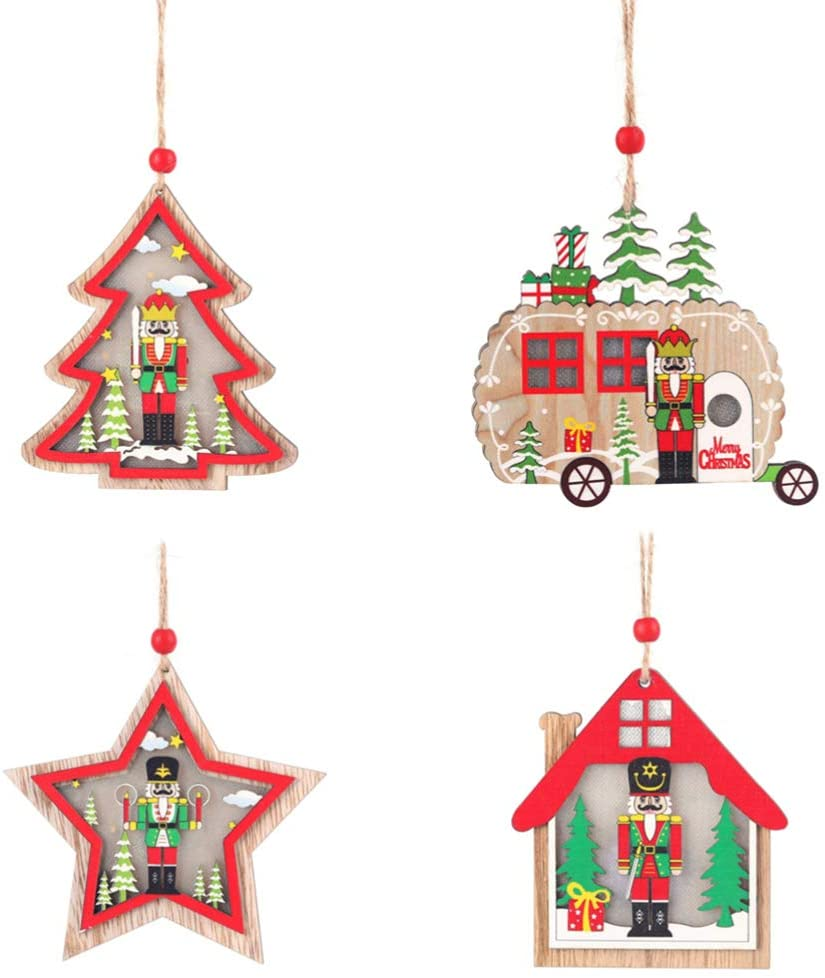 Amosfun Christmas Tree Pendant Christmas Walnut Soldier with Light Ornament Cute Christmas Pendants 4pcs (Random Style)