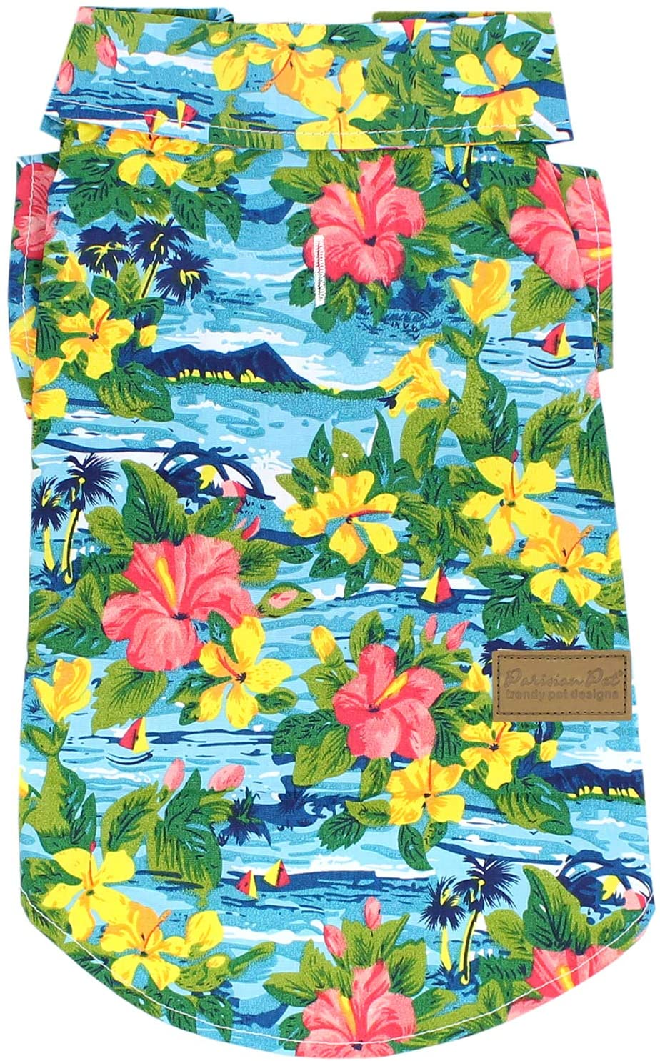 Parisian Pet Hawaiian Dog Clothes - Hibiscus Print Dress/Tropical Shirt - Dog Luau Costume for Male and Female Dogs - Perfect Summer Dress for Pets