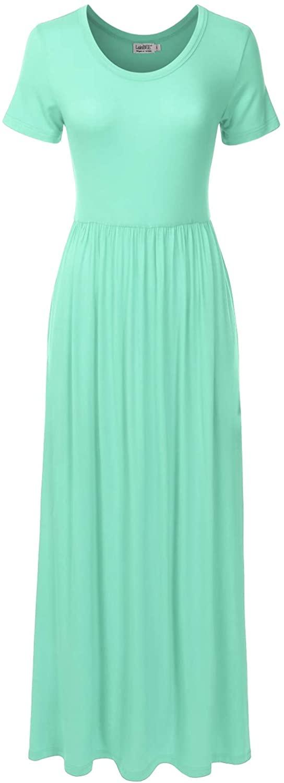 DANIBE Women's Short Sleeve Long Maxi Loose Casual Dress with Pockets (XS-XXL)