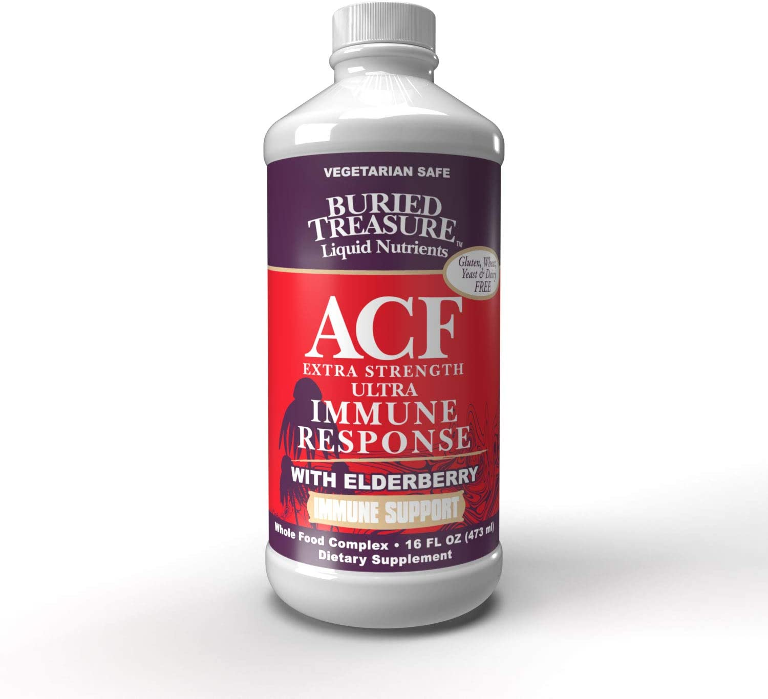 Buried Treasure ACF Extra Strength Extreme Immune Support with Elderberry Echinacea Vitamin C and Herbal Blend for Comprehensive Rapid Relief 16 Fluid Ounce