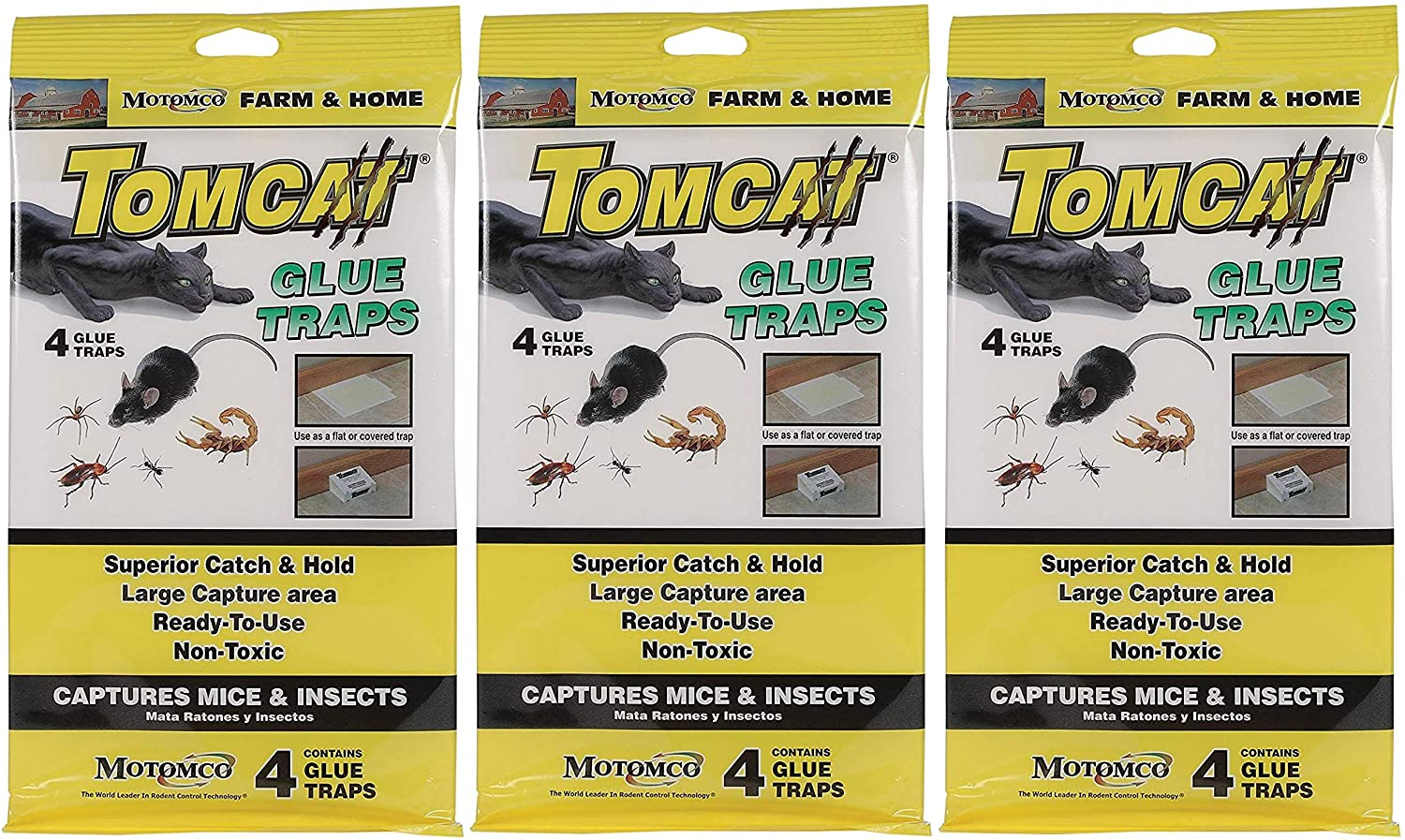 Motomco 12 Pack of Tomcat Glue Traps for Mice and Insects