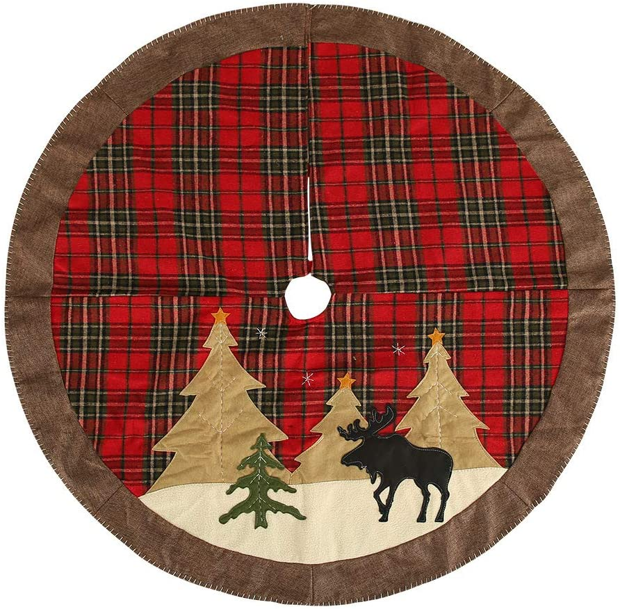 MaitianGuyou Christmas Tree Skirt,40 Inch Red Plaid Tree Skirt for Xmas Holiday Decorations