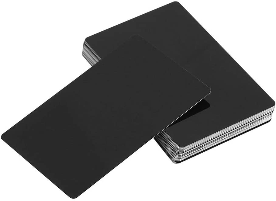 50Pcs Metal Business Cards Blanks for Customer Laser Engraving DIY Gift Cards 5 Colors Optional (Color : Black)