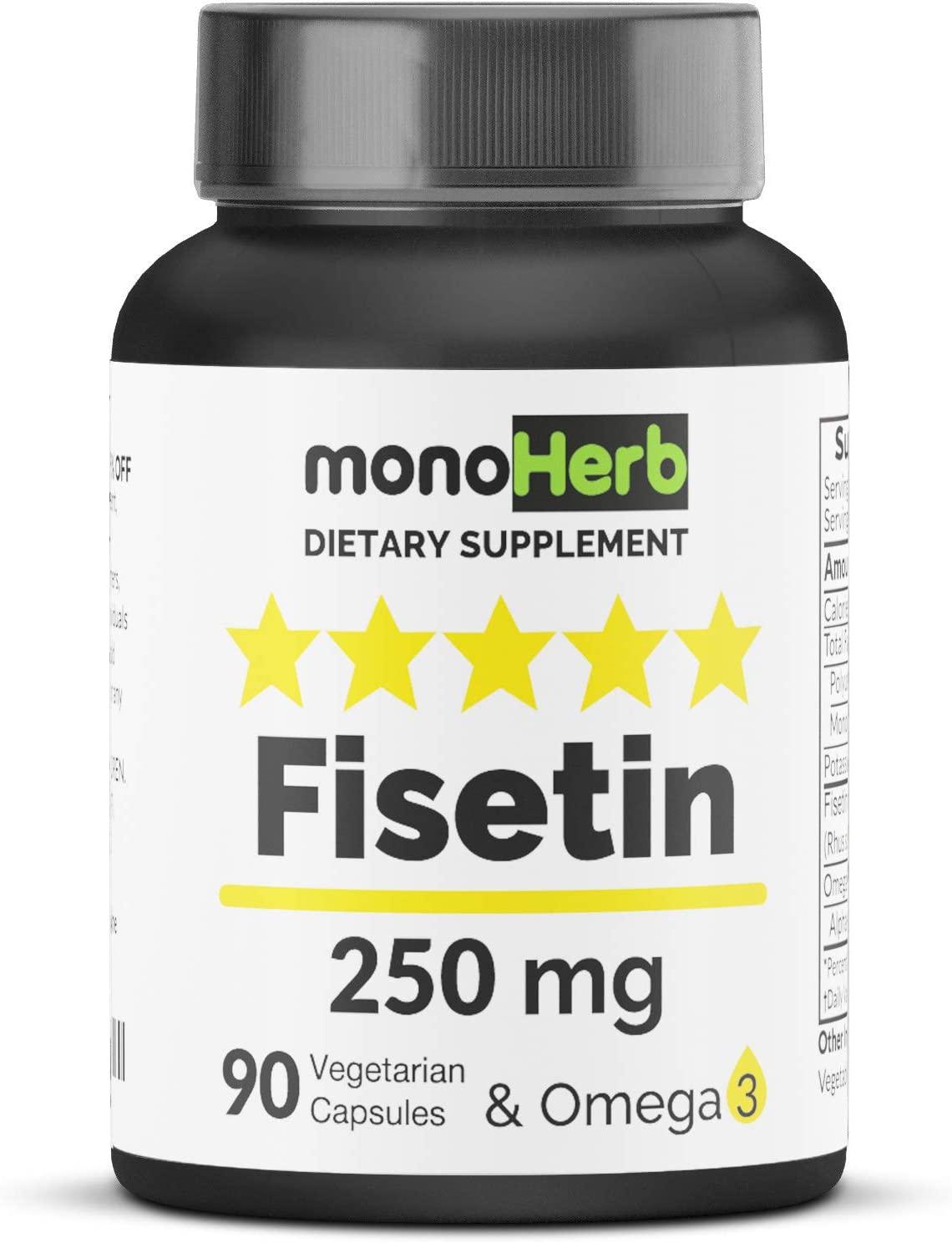 Fisetin 250 mg per Capsule - 90 Vegetarian Capsules