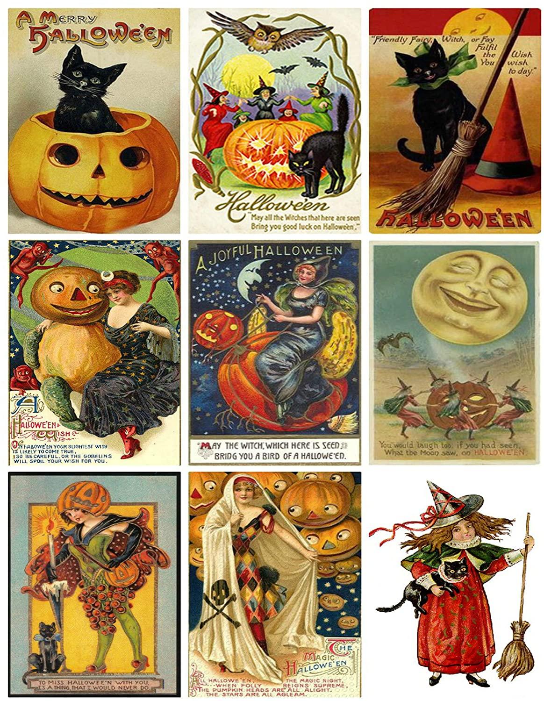 Victorian Vintage Halloween Printed Collage Sheet 8.5 x 11