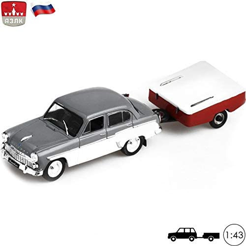 1:43 Scale Model Car Moskvitch 407 with Tourists Trailer Skif-M Russian Soviet Toy Cars