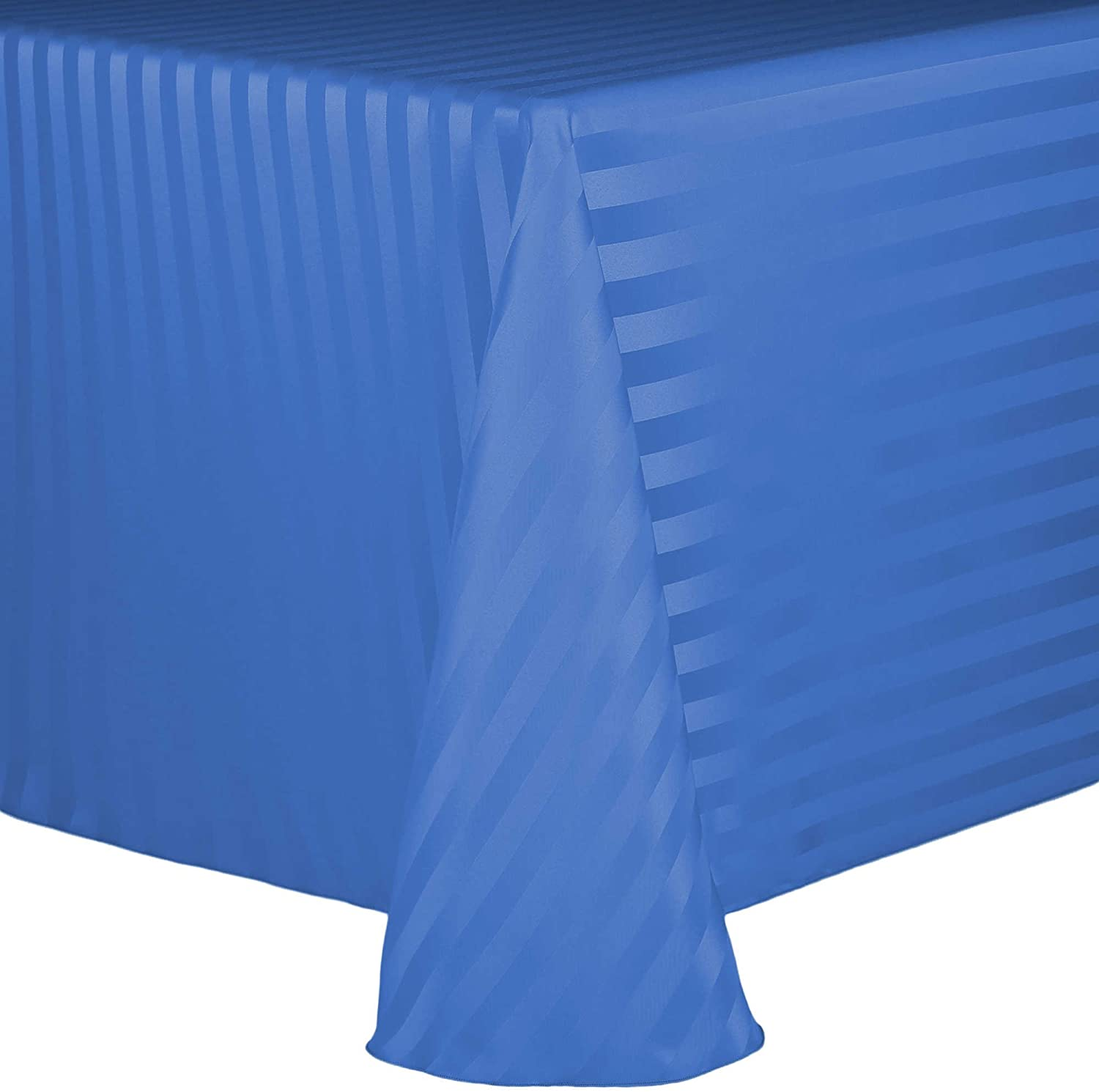 Ultimate Textile Satin-Stripe 60 x 102-Inch Oval Tablecloth Periwinkle Blue