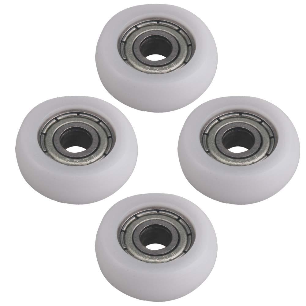 Mxfans 4 Piece 16mm OD White Roller Pulley Ball Bearing Guide Pulley for Door