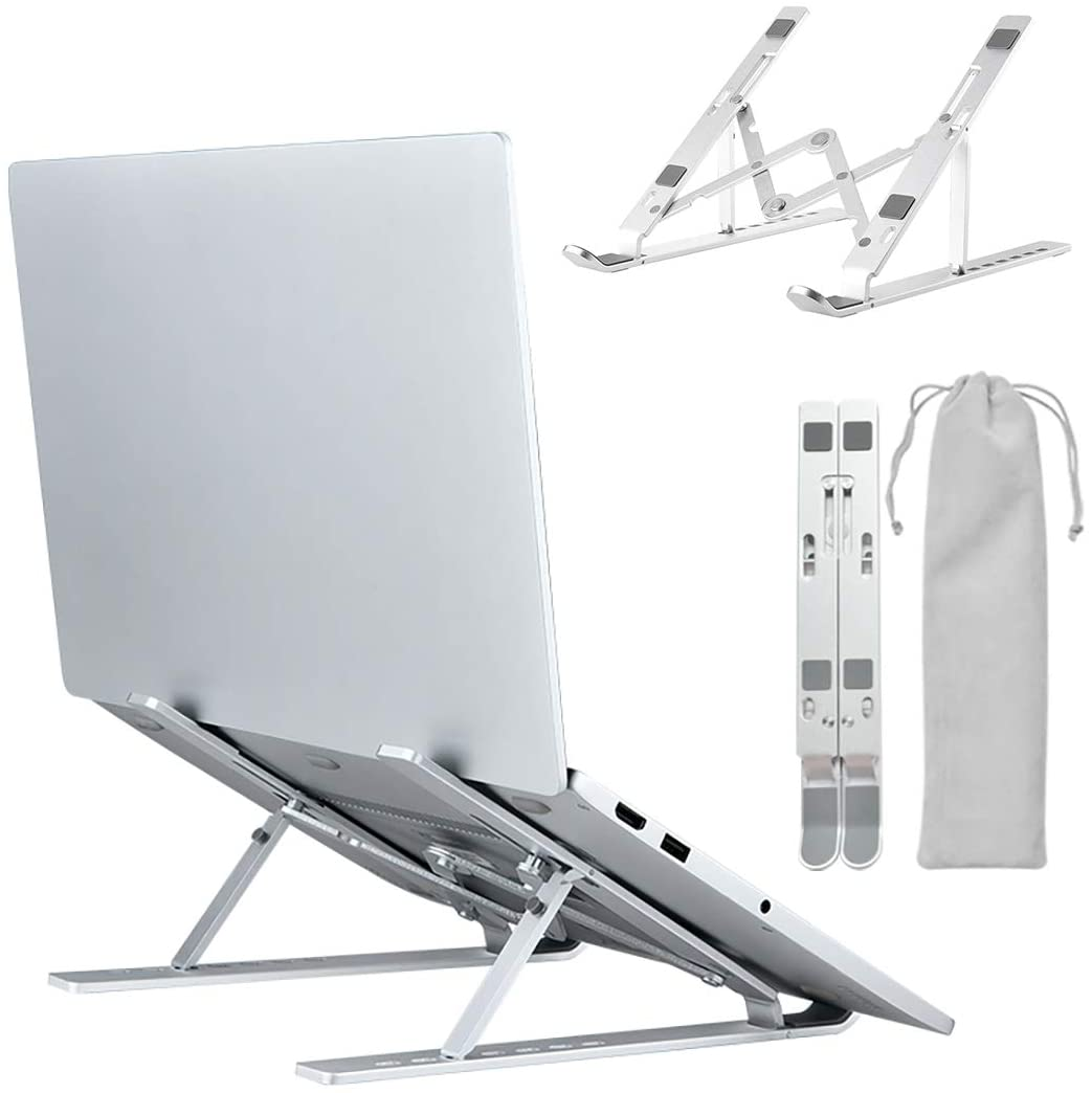 """Atoz Create Portable Laptop Stand, Aluminium Alloy Adjustable Height Laptop Computer Stands Compatible with MacBook Air Pro, Dell XPS, HP, Lenovo More 10-15.6"""" Laptops (Silvery White)"""