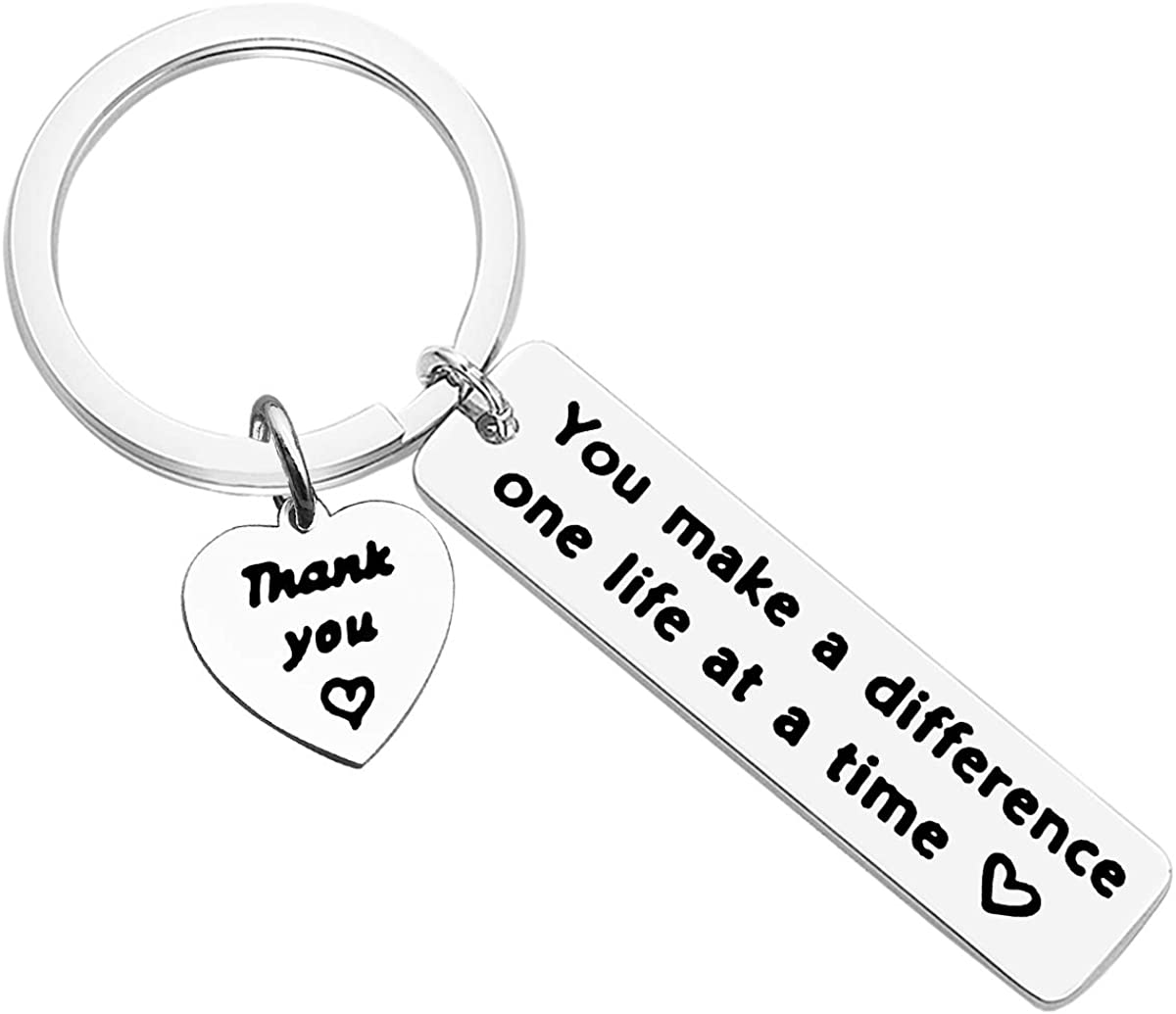 Thank You Gift Appreciation Jewelry, Make A Difference Keychain Stainless Steel Keyring Gift,Employee Gift Social Worker Jewelry, Colleague Boss Goodbye Farewell Gifts Going Away, Christmas Keyring