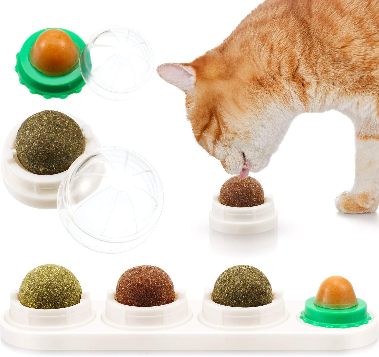 Sumind Catnip Toy Edible Balls Rotatable Catnip Ball Cat Toy 4-1 Removable Catnip Edible Balls Licking Toys for Cats Kitten Kitty