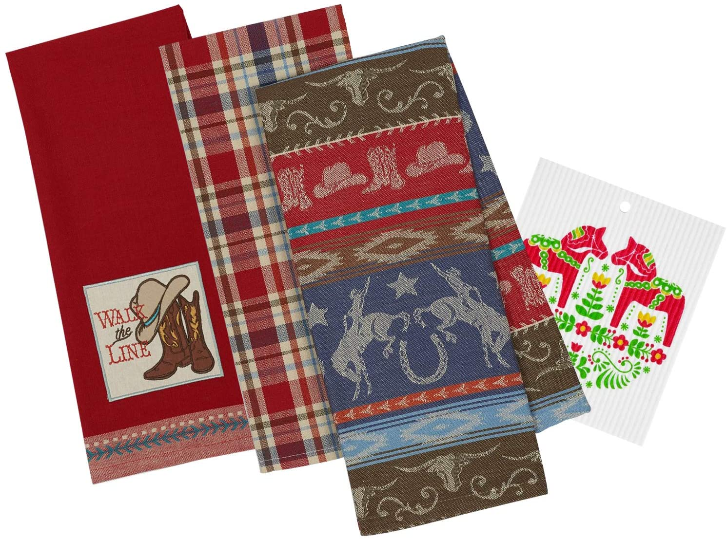 Western Themed Decorative Kitchen Towels |2 Retro Vintage Style Horse Towels with Cowboy Boots, Hats and Cattle Skull Print, 1 Plaid Towel Set for Dish and Hand Drying | Includes Swedish Dish Cloth