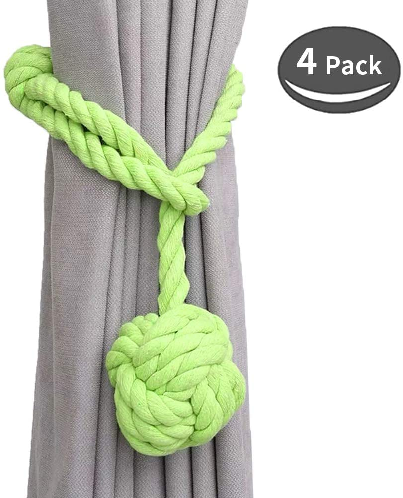 SZFY 4 Pack Curtain Tiebacks, Handmade Natural Cotton Rope Tieback, Rural Decorative Holdbacks for Curtains, Drapes, Living Room, Office Decor (Light Green)