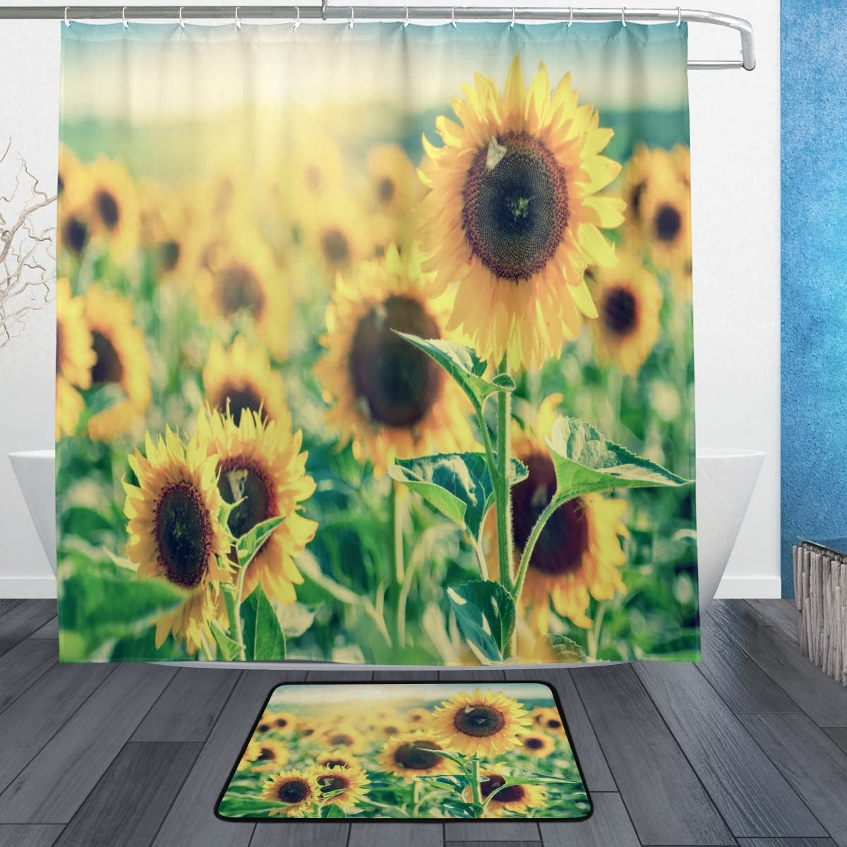 ALAZA Vintage Yellow Sunflower Field Waterproof Polyester Shower Curtain for Bathroom 72 x 72 Inches, Home Decor Decoration Curtain 12 Hooks with Doormat Set