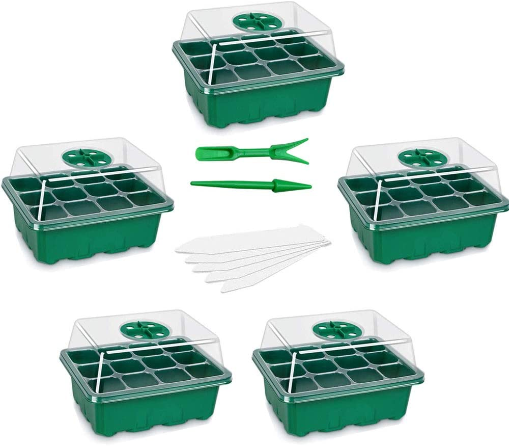 PPNZQAUT 5 Sets Seed Starting Kit Seedling Starter Trays 60 Cells Garden Seed Starter Trays Humidity Adjustable Seed Germination Trays with Dome and Base Greenhouse Seed Starting Trays (5)