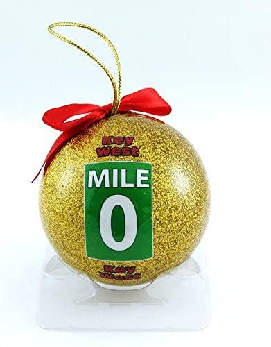 Souvenir Destiny Key West Florida Zero Mile Christmas Ball Ornament Gold