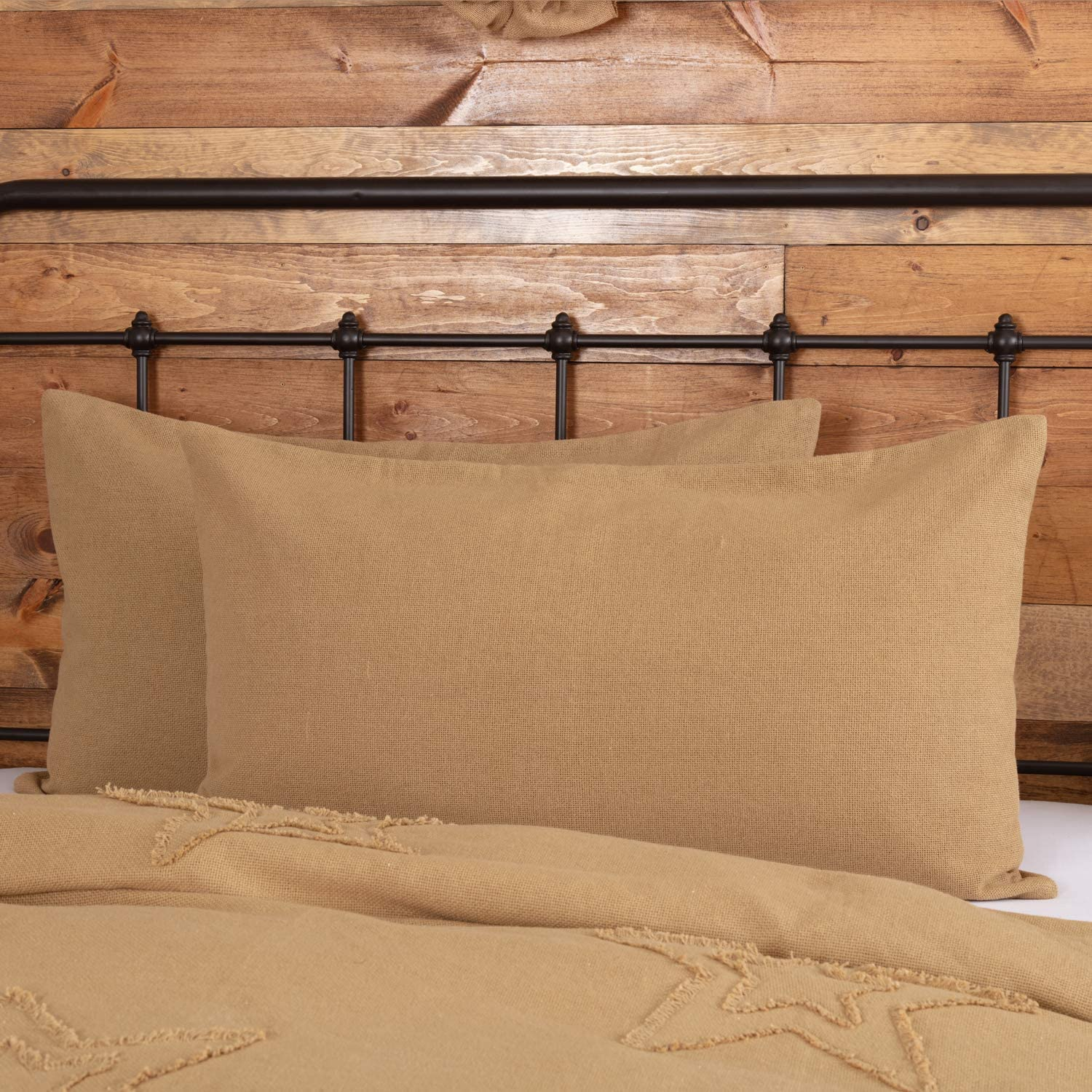 VHC Brands Burlap Natural Bedding Accessory, King Sham 21x37, Tan