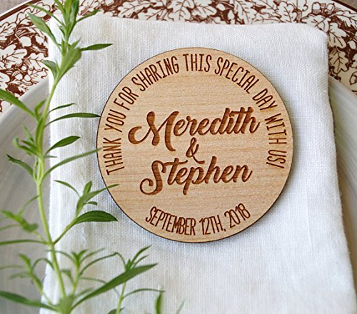 Wedding favors, wooden magnets, personalized wedding favors, engraved wedding magnets, wooden wedding favors, Thank you magnets, set of 25