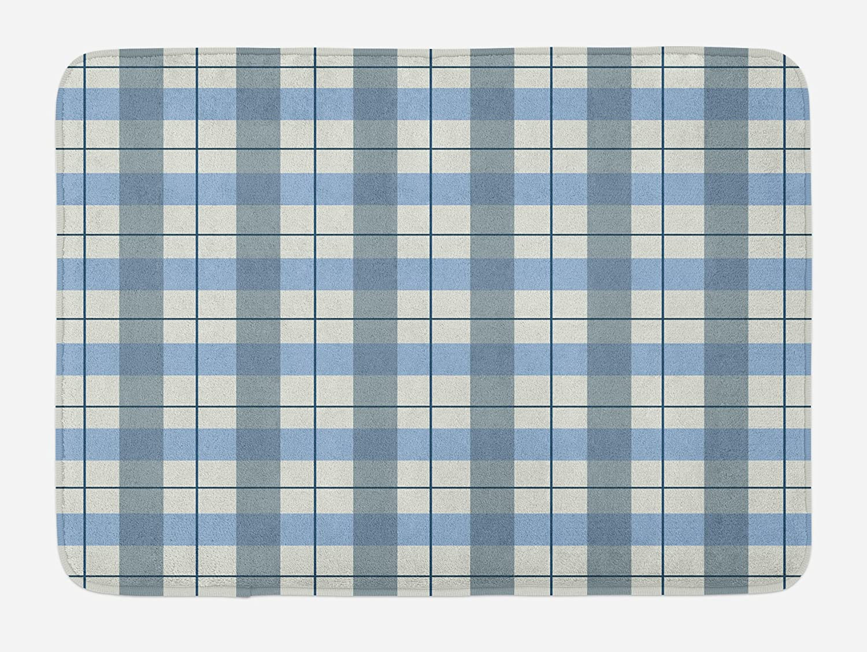 Ambesonne Checkered Bath Mat, Traditional Scottish Tartan Plaid Texture Image Rural Style, Plush Bathroom Decor Mat with Non Slip Backing, 29.5