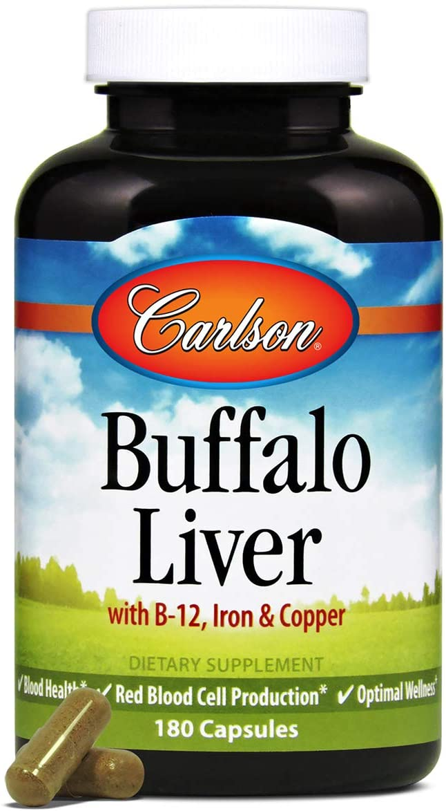 Carlson - Buffalo Liver, with Iron & Copper, Blood Health, Red Blood Cell Production & Optimal Wellness, 180 Capsules