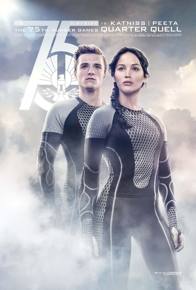 Movie Poster The Hunger Games 2 : Catching Fire (2013) - Katniss Peeta Quarter - 13 in x 19 in Flyer Borderless + Free 1 Tile Magnet