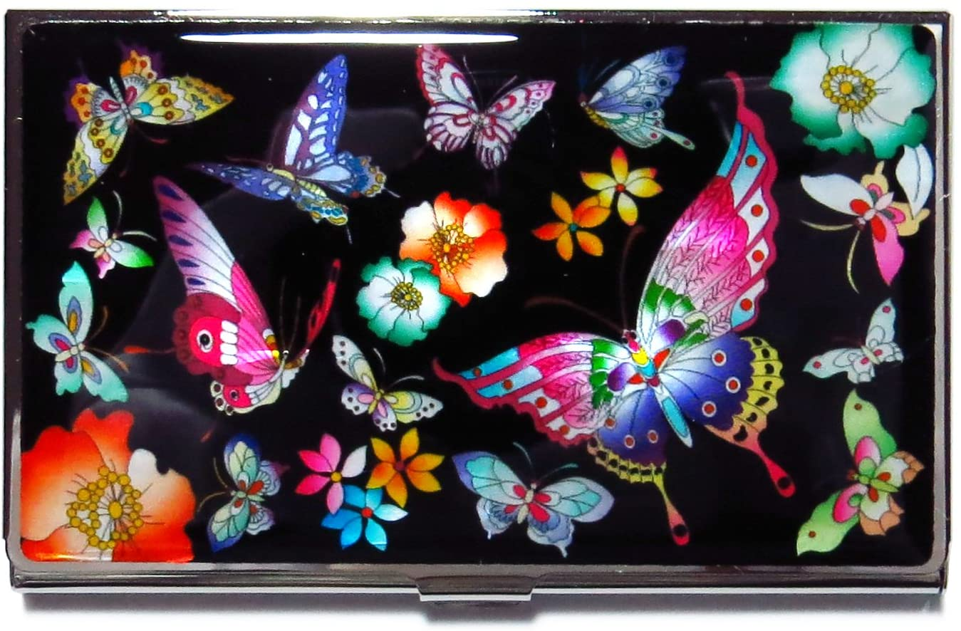 MADDesign Mother of Pearl Business Card Case ID Holder Metal Minimalist Wallet Butterflies