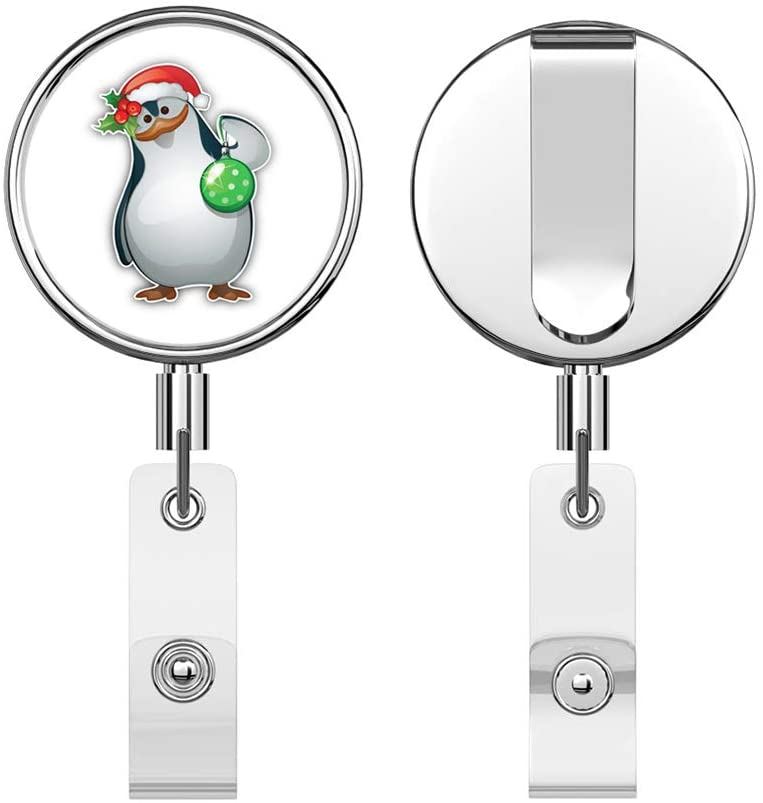 Funny Christmas Penguin Round ID Badge Key Card Tag Holder Badge Retractable Reel Badge Holder with Belt Clip