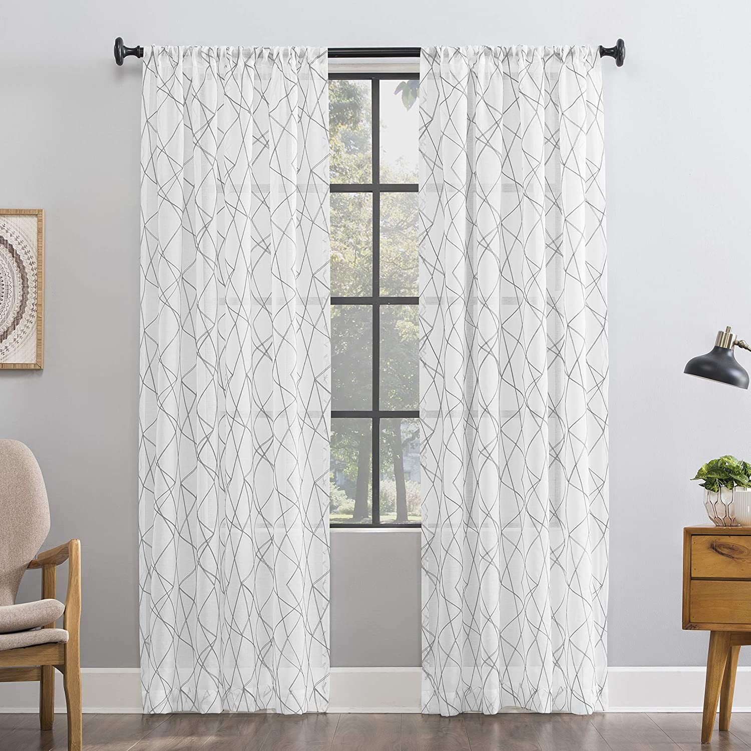 No. 918 Fraction 2-Pack Mid-Century Modern Geometric Embroidery Semi-Sheer Rod Pocket Curtain Panel Pair, 50