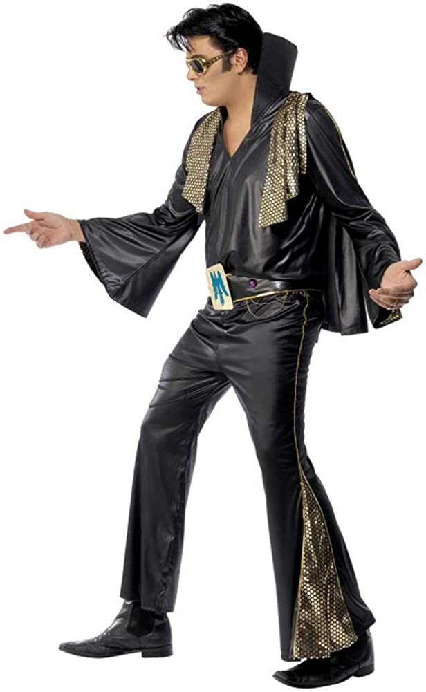 Smiffys Men's Elvis Black and Gold Costume - Chest 42