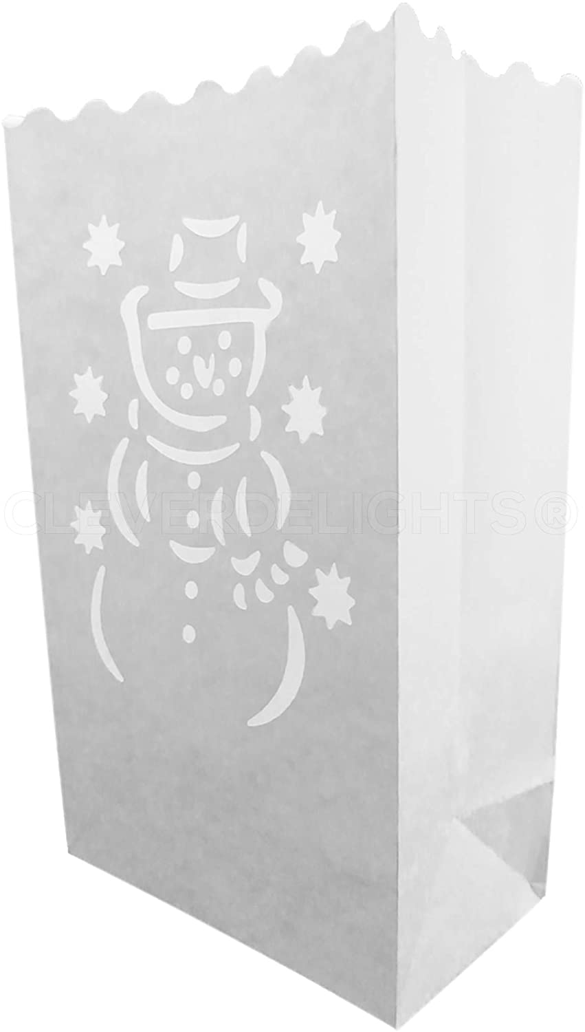 CleverDelights White Luminary Bags - 50 Count - Snowman Design - Wedding Party Christmas Holiday Luminaria